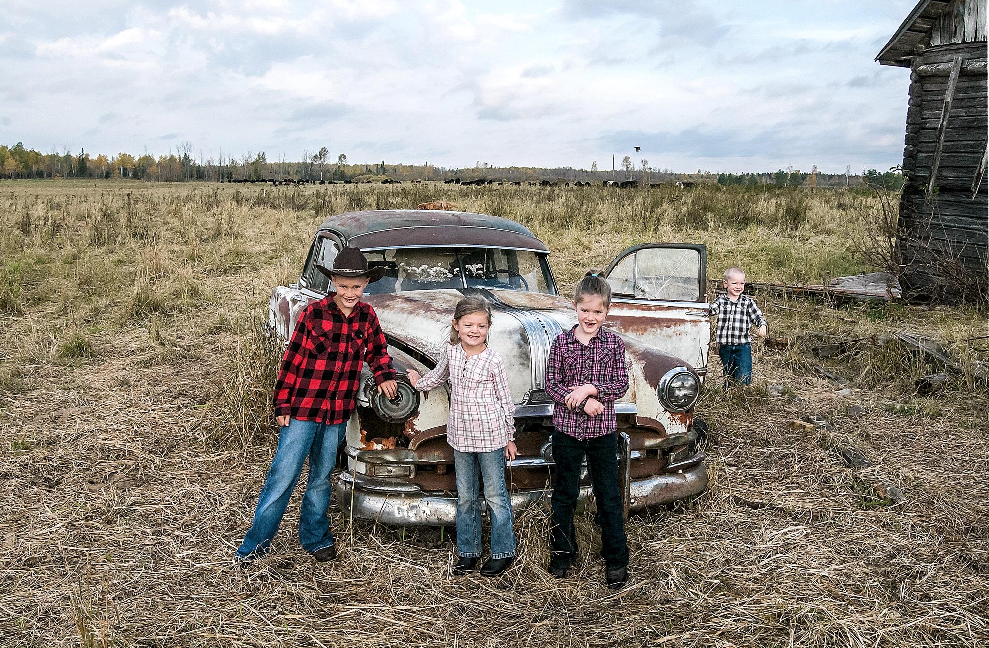kids by truck
